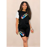 NIKE Fashion New Multicolor Letter Hook Print Women Top And Shorts Two Piece Suit Black