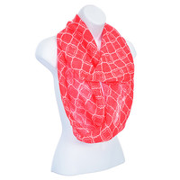 Lightweight coral and ivory pattern infinity scarf. Quatrefoil - Clover Motif