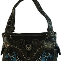 Western Style Handbag Faux Leather Purse Emroidered with Bling Horseshoe and Steer- Choice of Colors