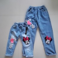 Sardiff 2017 Family Matching Blue Jeans Sequins Heart Pants Mother Daughter Bottom High Waistband Elastic Cotton Linen Trousers