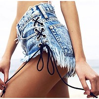 Lace Up Wildest Acid Babe Shorts (in Vintage)