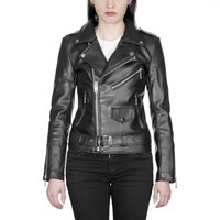 Lady's Vegan Commando - Black Artificial Leather Jacket - Nickel Hardware | Straight To Hell Apparel