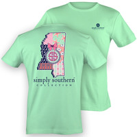 Simply Southern Mississippi MS Chevron Preppy State Pattern Girlie Bright T Shirt