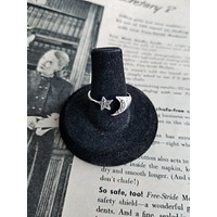 Vintage CW marcasite sterling silver crescent moon and star celestial bypass ring size 8