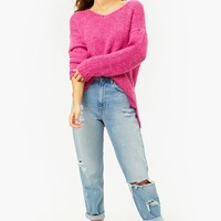 Purl Knit V-Neck High-Low Sweater
