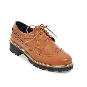 Women's Lace Up Retro Round Head Low Heels Oxford Shoes