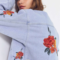 BDG Embroidered Rose Cropped Denim Trucker Jacket | Urban Outfitters