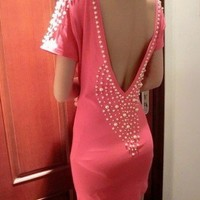 [grlhx160090]Sexy Backless pearl Dress