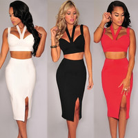 Fashion Women Two Pieces Halter Strappy Crop Top Split Straight Skirt Bodycon Dress Evening Party Clubwear One Size = 1958220612