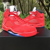 Air Jordan Retro 5 V Raging Bull Red Suede Blue Reflective Men Basketball Shoes Sports Sneakers Size 5.5-13