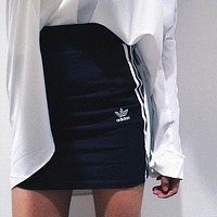 Bailianyi : adidas Originals Black Three Stripe Skirt