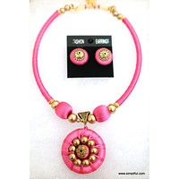 Silk Thread Choker Necklace and Stud Earring set - Single Color