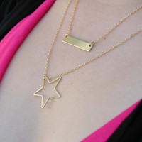 Layered Necklace Set - Gold Layer Necklaces - Monogram Necklace - Rectangle Necklace - Star Necklace - Bar Necklace - Custom Necklace