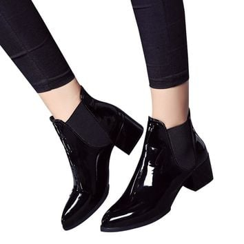 SAGACE 2019 New Arrival Fashion Shoes Women Boots Elasticated Patent Leather Ankle Boots Pointed Low Heel Boots Sexy Shoes
