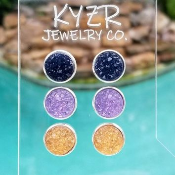 Druzy earring set- Navy/ Lilac and Apricot drusy stud set