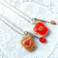 Peanut Butter And Jelly Heart Necklace Set, Strawberry Jelly, Best Friend's BFF Necklace, Cute :D