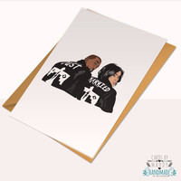Kanye West Kim Kardashian Kimye Just Married Wedding Card Bridal Shower Pablo Yeezy Typography Love Card Stock Birthday Anniversary Card
