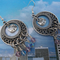 Hello Kitty Inspired Antique Silver Chandelier Earrings with Swarovski Light Amethyst and Light Sapphire AB Crystals