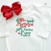 Baby Girls Christmas Bodysuit with bow - Baby Shower Gifts - Embroidered Holiday Outfit - Red and Green - Mistletoe - Funny Baby Clothes