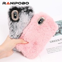 Luxuy Rabbit Hair Case for iPhone XS XR XS Max Bling Diamond Warm Fur Rhinestone Bling Plush Furry Hard Back Cover Cases Gift