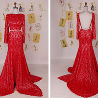 Red Long Sleeves Lace Mermaid Prom Dress/Red Mermaid Gowns/Red Lace Mermaid Evening Dress/Red Mermaid Wedding Dress DAF0028