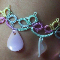 tatted anklet with teardrop charms with matching bracelet