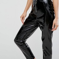 New Look Vinyl Zip Front Pants at asos.com