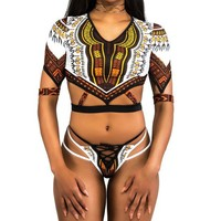 Personality Retro Ethnic Multicolor Totem Print Middle Sleeve Hollow Bandage Triangle Bikini Set Swimsuit Swimwear