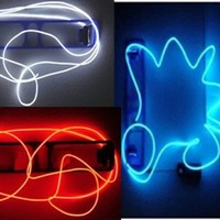 Neon Glowing Electroluminescent Wires (El Wire) - Red, White & Blue 3pc Pack