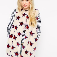 ASOS Faux Fur Gilet With Star Detail