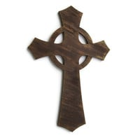 Decorative Wall Cross hand painted in chocolate brown faux wood grain finish, streaks of metallic rust and gold, wooden Celtic cross