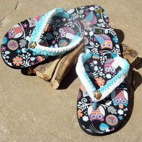 Owl Flip Flops, Extra Large, Crochet Beach Apparel, Spa/Gym Slippers, Resort Vacation Sandals, Spring Clothing