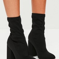 Missguided - Black Block Heel Pointed Neoprene Boots