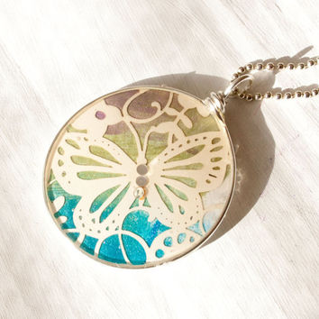 Rainbow Butterfly Recycled Card Necklace, Silver Resin Pendant, Gifts for Her