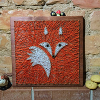 Nursery decoration, fox string art made on reclaimed wood planks, perfect decor for kids room or a gift for newborn, wall decoration