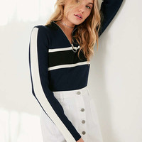 Silence + Noise Half-Zip Striped Sweater | Urban Outfitters