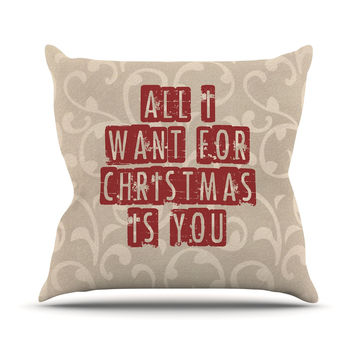 """Sylvia Cook """"All I Want For Christmas"""" Holiday Outdoor Throw Pillow"""