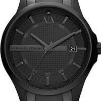 A|X Armani Exchange Watch, Men's Black Ion Plated Stainless Steel Bracelet 46mm AX2104