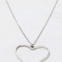 AEO Women's Open Heart Necklace (Silver)