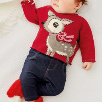 CHRISTMAS GIFT Baby Kids Baby clothing cloths for baby girl Sweater  Outwear Red Deer Jumper (0-18mths)