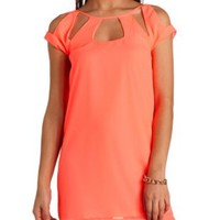 Cut-Out Neon Chiffon Shift Dress by Charlotte Russe - Hot Neon Coral