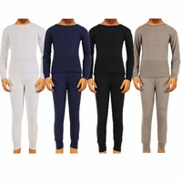 Boys 2pc Cotton Thermal Underwear Set Long Johns Waffle Knit Top Bottom Warm