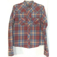 Cruel Girl Plaid Pearl Snap Shirt Western Top Blouse Blue Red Cowgirl Rodeo L