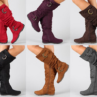 Buckle Slouchy Knee High Flat Boots Black Brown Gray Red Purple Beige Tan Berry