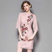 2017 New Fashion Spring Summer Runway Dress Women's High Quality Floral Embroidery Lace Dress Plus Size Mini Sexy Party Dresses