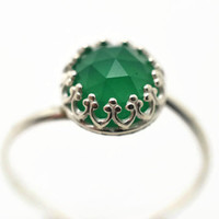 Green Onyx Ring, Sterling Silver Ring, Green Gemstone Ring, Handforged Silver Cocktail Ring