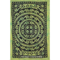 Green Hippie Tie Dye Elephant Tapestry Wall Hanging Mandala Pattern Bedspread on RoyalFurnish.com