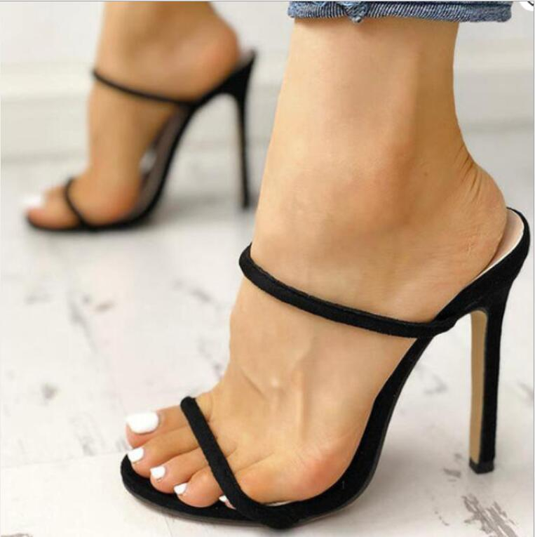 Image of Summer new high-heeled solid color pointed sandals women's shoes double line Vamp Black