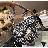 Dior Classic Dior dark blue old flower pattern Saddle bag Ladies shoulder bag Handbag