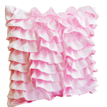 Decorative Throw Pillow Cover In Soft Pink Satin Ruffles